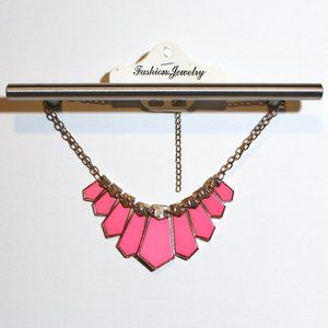 Gorgeous Bright Pink and Gold Statement Necklace